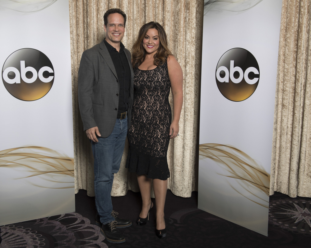 The stars of ABC's new sitcom American Housewife, Katy Mixon and Diedrich Bader, attend ABC's fall TV press tour.