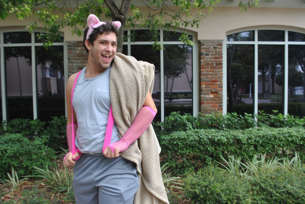 Mikey Mattone dressed up as a pig in a blanket.  (via Sydney Aronberg, junior)
