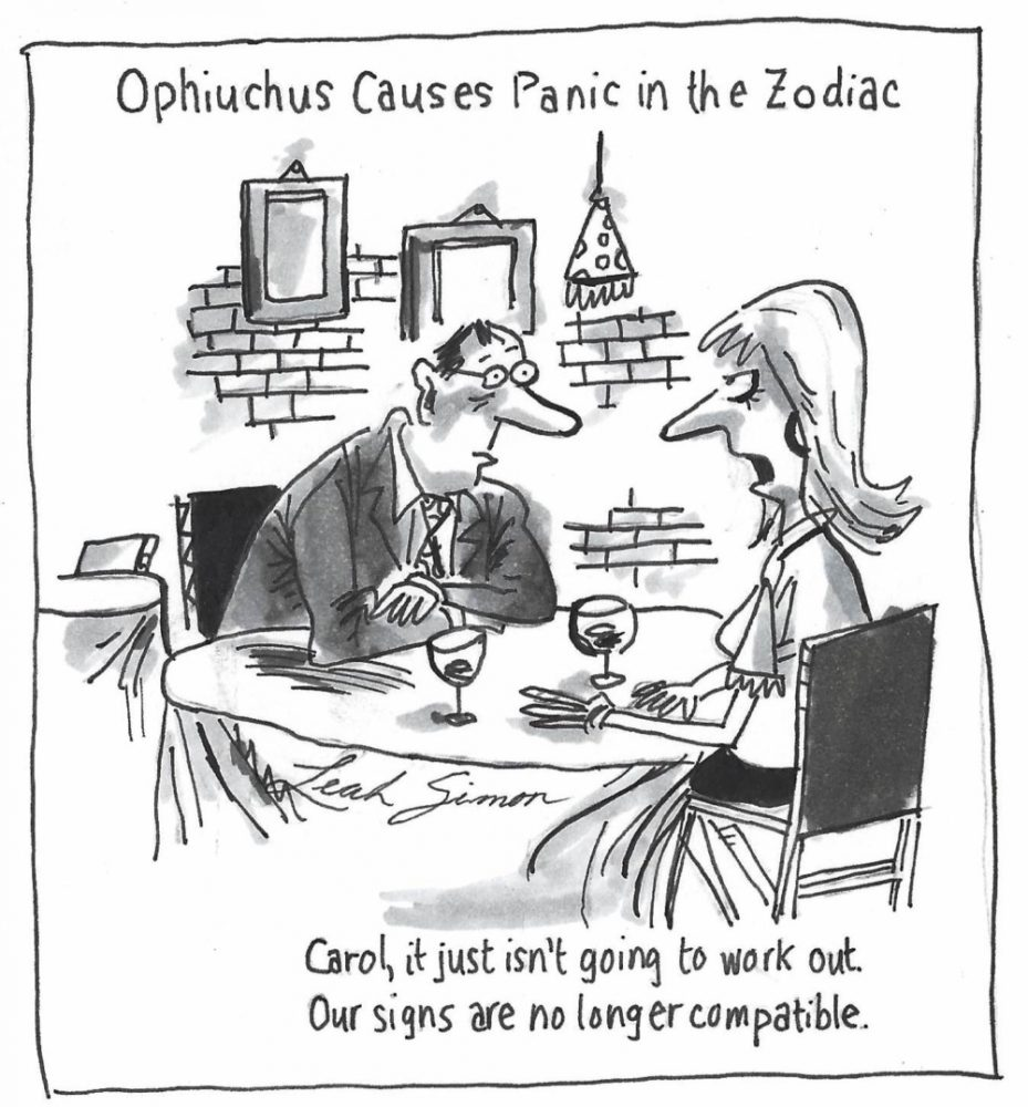 Ophiuchus causes panic in the zodiac. (cartoon by Leah Simon, senior)