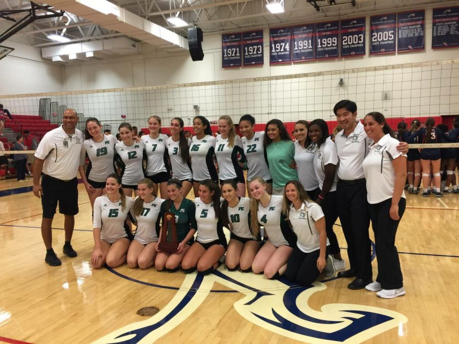 The girl's volleyball team triumphed to win the District Championship. (via Grace Luciano, senior)