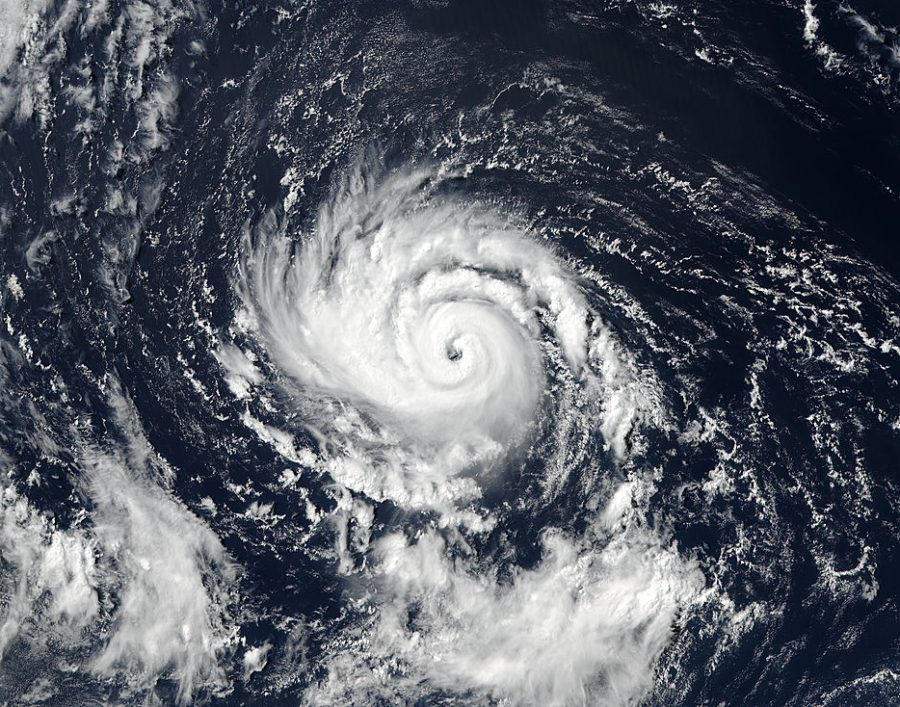 An satellite image of Hurricane Ophelia.