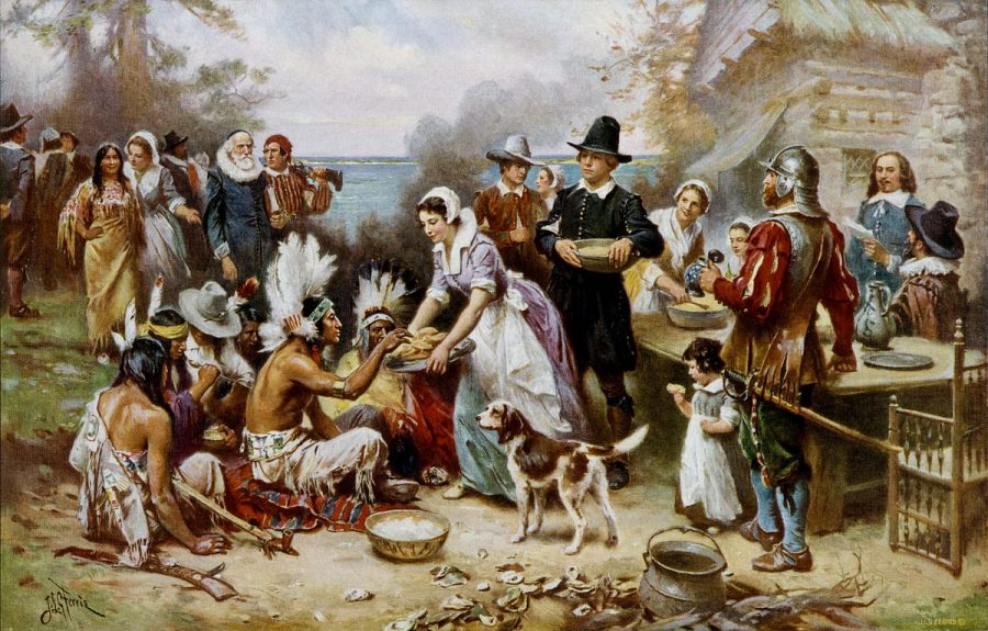 Jean Leon Gerome Ferris' The First Thanksgiving, allowing a glance into how the American tradition began.