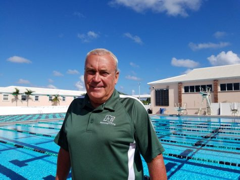 Coach Fitzgerald enjoys his remaining months at Pine Crest in his favorite place: by the pool.