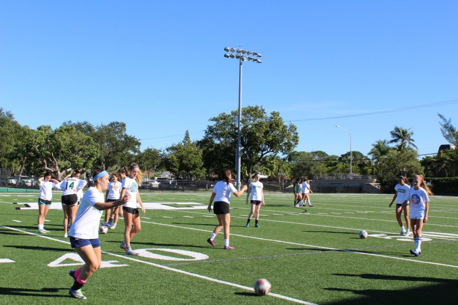 The girls' soccer team practicing their passing (via Anna Selden, sophomore).