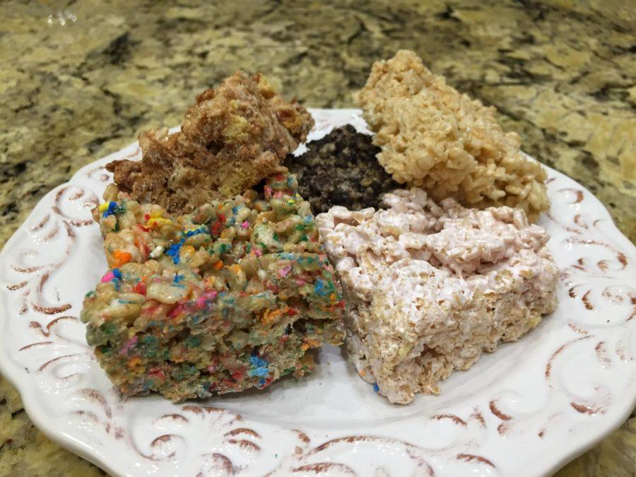 Original, Cookies & Cream, S'mores, Birthday Cake, and Strawberry Rice Krispie Treats!