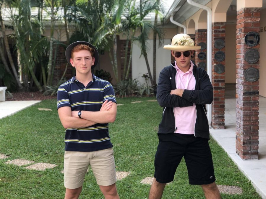 Sammy Koolik and Matias Litewka pose outside of Stacy Auditorium, where they will be performing later this week.
