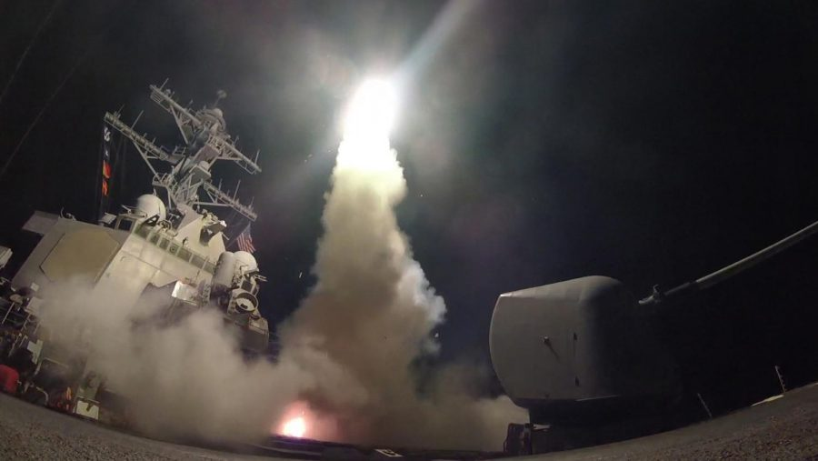A US Navy Destroyer Launched Missiles Towards Syria.