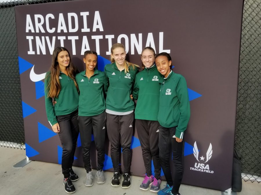 [From left to right]: Amanda Schwartz, Tsion Yared, Emily Faulhaber, Maya Beleznay, and Mahadere Yared are all smiles as they prepare to set records at the 51st Annual Arcadia Invitational track meet.
