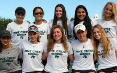 The Girls' Varsity Tennis Team smiling big after advancing to Regional Semi-Final.