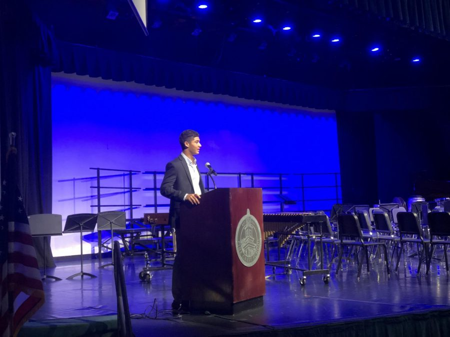 David Radvany-Roth gives his speech as one of the three junior candidates vying for the position of the 2018-2019 Student Council President.