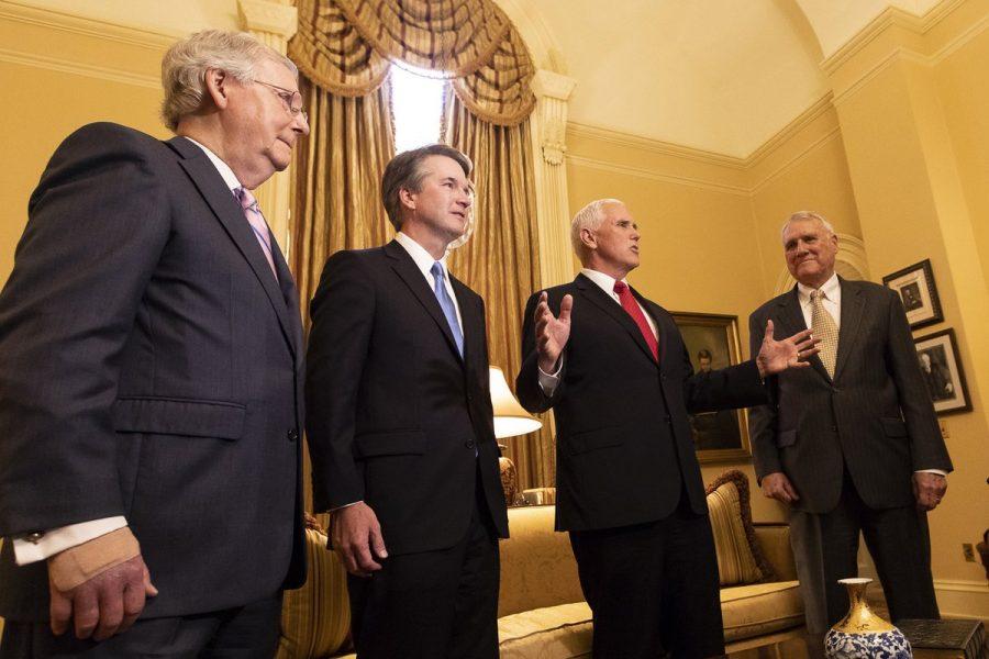 Justice Brett M. Kavanaugh with Vice President Mike Pence, Senate Majority Leader Mitch McConnell, and Senator Jon Kyl of Arizona