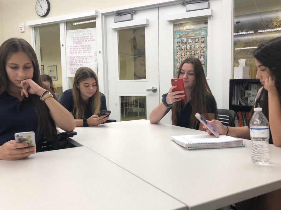 Students glued to their cell phone screens.