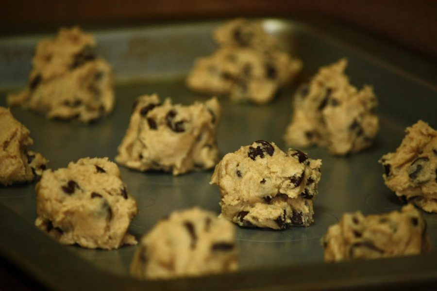 Raw cookie dough about to be baked.