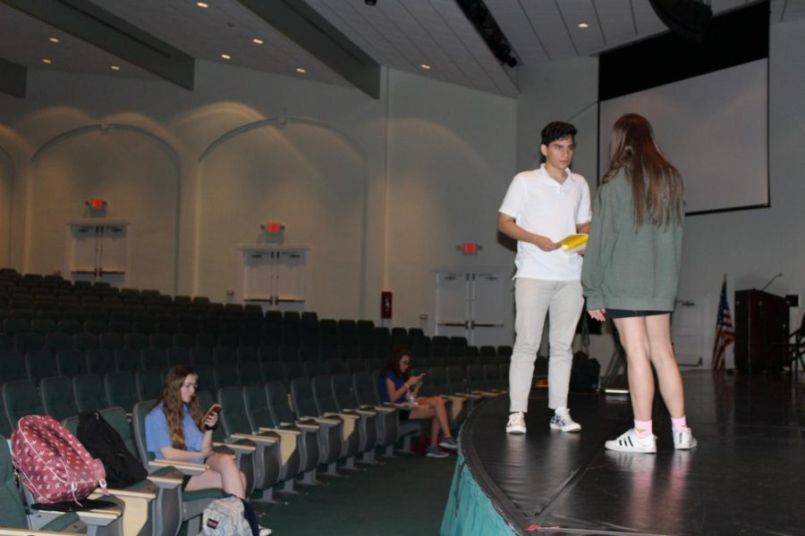 PC students rehearse for the play.