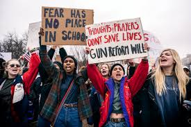 Students protest for gun control measures following a mass shooting