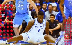 Zion Williamson left on the floor after the sole of his shoe came off on the court.  Via: SB Nation