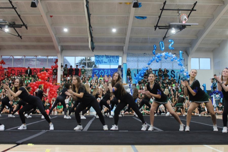 Hip Hop Club dancers performed at the pep rally on Friday.
