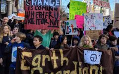 Children and teenagers gather in San Francisco to support anti-climate change initiatives.
