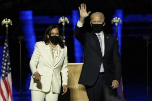 President-Elect Joe Biden and Vice President Elect Kamala Harris after their victory was announced on Saturday, November 7, 2020.